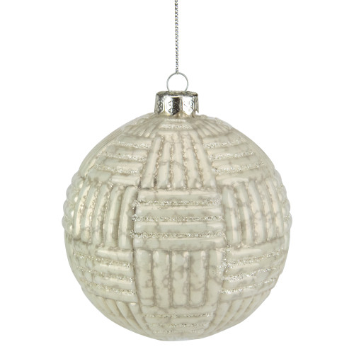 "4"" Cloudy White Geometric Glass Ball Christmas Ornament - IMAGE 1"