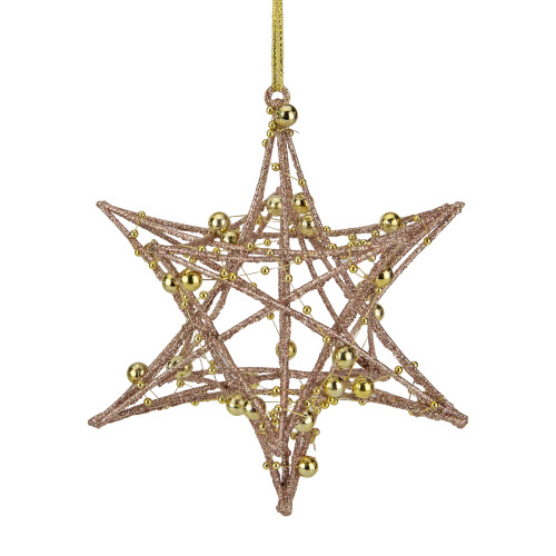 """5"""" Glitter Rose Gold Iron Wire Starburst with Beads Christmas Ornament - IMAGE 1"""