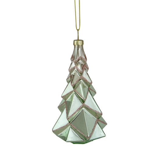 """5"""" Green with Pink Glitter Glass Christmas Ornament - IMAGE 1"""