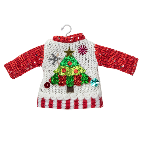 """4.5"""" Christmas Tree Sweater on a Hanger Ornament - IMAGE 1"""