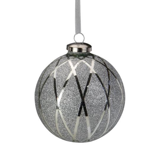 "4"" Silver Glitter Diamond Pattern Glass Ball Christmas Ornament - IMAGE 1"