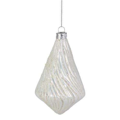 "5"" White Swirled Glittered Teardrop Glass Christmas Ornament - IMAGE 1"