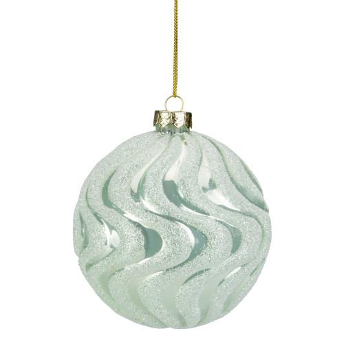 "4"" Green Glittered Swirled Glass Ball Christmas Ornament - IMAGE 1"