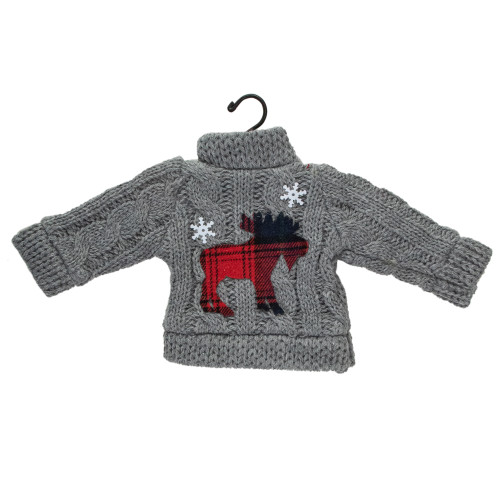 """9"""" Gray Ugly Sweater on a Hanger with a Moose Design Christmas Ornament - IMAGE 1"""