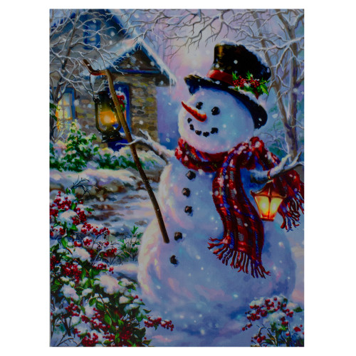 "15.75"" Lighted Snowman with Lantern Christmas Wall Art Decor - IMAGE 1"