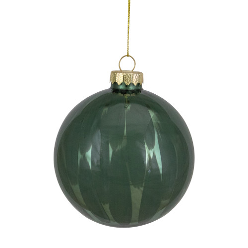 "4"" Shiny Painted Shades of Green Glass Christmas Ball Ornament - IMAGE 1"