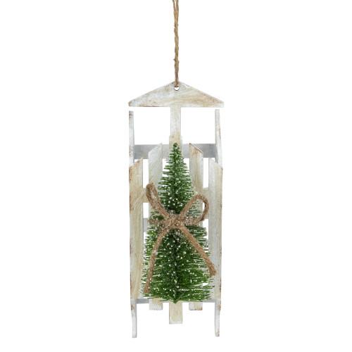 "9"" Tree on White Wood Sled Christmas Ornament - IMAGE 1"