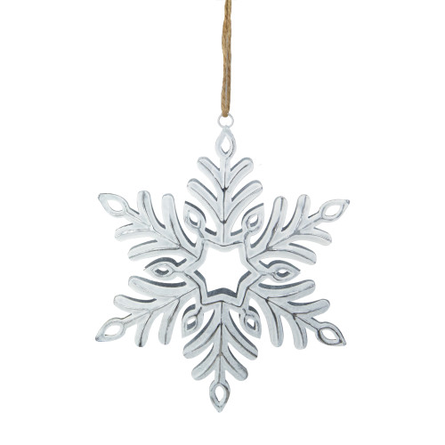 "5.5"" Silvery White Metal Snowflake Christmas Ornament - IMAGE 1"