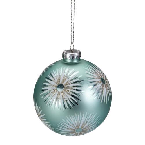 "4"" Mint Green Glittered Starburst Glass Ball Christmas Ornament - IMAGE 1"