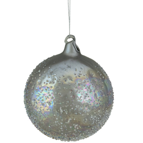 "4"" Silver Iridescent Glass Ball Christmas Ornament - IMAGE 1"