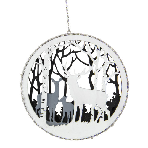 """4.25"""" White and Gray Reindeer Family with Forest Trees Disk Christmas Ornament - IMAGE 1"""