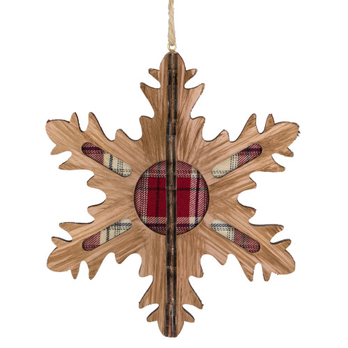 7-Inch 3-D Faux Wood and Red Plaid 10 Point Snowflake Christmas Ornament - IMAGE 1