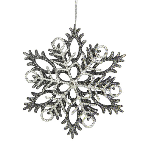 "5"" Silver Glittered Double Snowflake Christmas Ornament - IMAGE 1"