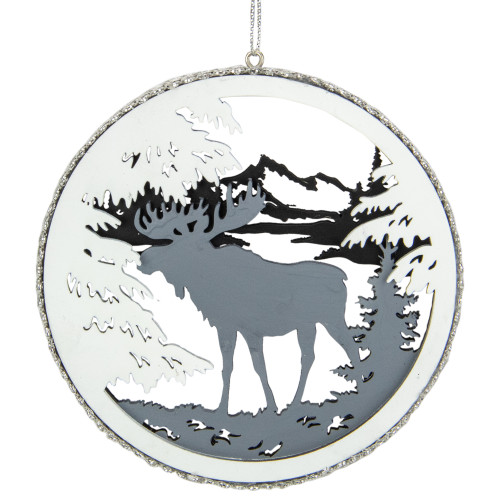"""4.25"""" Gray Moose 2-D Cut-Out Silhouette Christmas Ornament - IMAGE 1"""