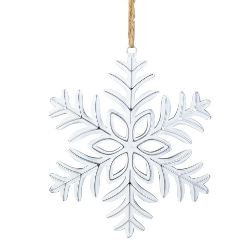"5.5"" Silver and White Metal Snowflake Christmas Ornament on Jute Rope - IMAGE 1"