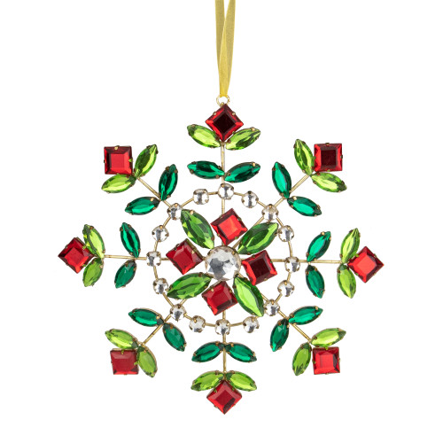 6.5-Inch Green and Red Gem Stone Flowers Snowflake Christmas Ornament - IMAGE 1