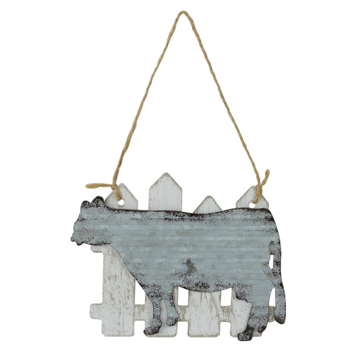 """4.5"""" Country Rustic Cow and White Picket Fence Christmas Ornament - IMAGE 1"""