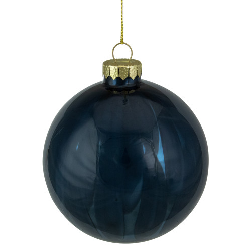 "4"" Shiny Royal Blue Glass Christmas Ornament - IMAGE 1"