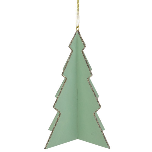 """5.25"""" Light Green 3D Tree With Silver Glitter Wooden Christmas Ornament - IMAGE 1"""
