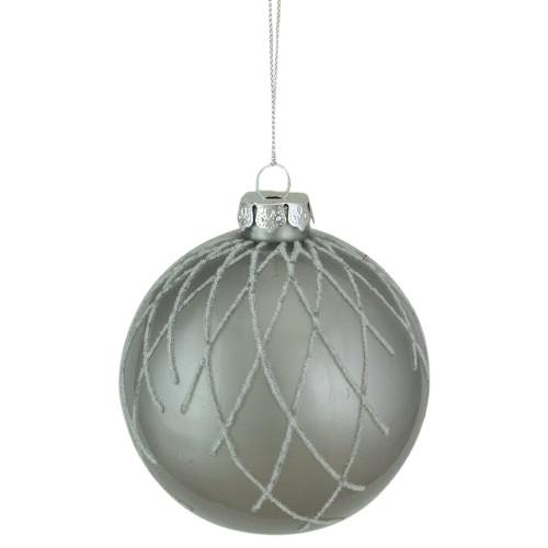 "4"" Gray Diamond Pattern Christmas Ball Glass Ornament - IMAGE 1"