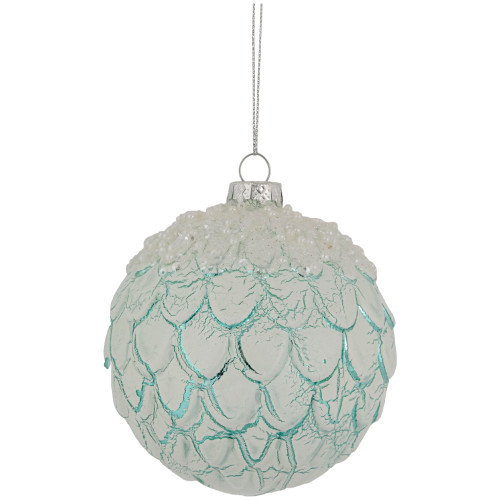 "4"" Mint Green Ombre Layered Glass Christmas Ball Ornament - IMAGE 1"