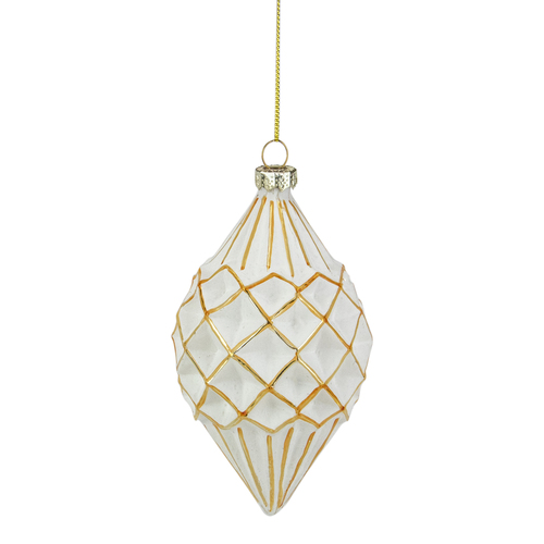 "5"" White and Gold Glitter Geometric Glass Finial Christmas Ornament - IMAGE 1"