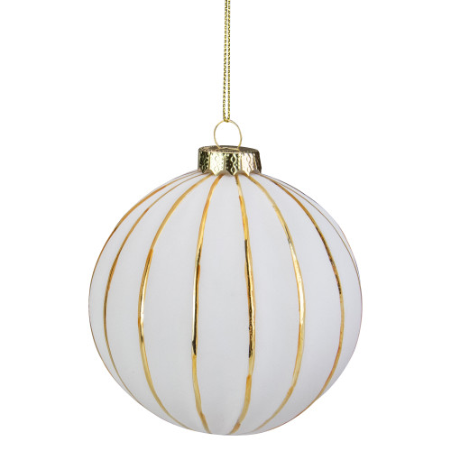"4"" White and Gold Striped Glass Christmas Ball Ornament - IMAGE 1"