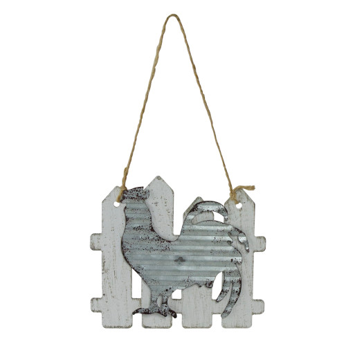 """4"""" Country Rustic Rooster and White Picket Fence Christmas Ornament - IMAGE 1"""