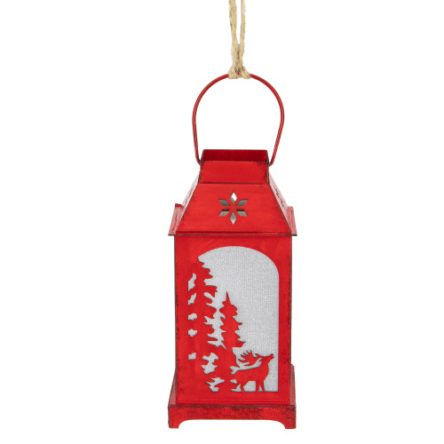 """5.5"""" Lighted Red Reindeer Silhouette Lantern Christmas Ornament - IMAGE 1"""
