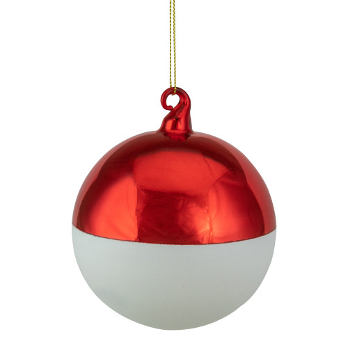 """3.5"""" Shiny Red and Matte White Glass Christmas Ornament - IMAGE 1"""
