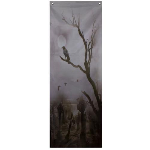 """70.75"""" Gray Dark Graveyard Scene Halloween Door Decoration - IMAGE 1"""