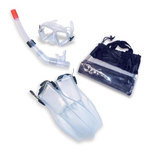 4pc Clear and Black Child Swimming Pool Snorkeling Set - Medium - IMAGE 1