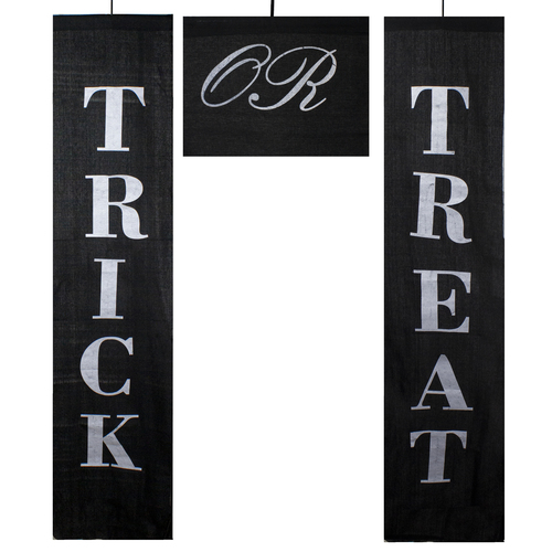 "Set of 3 Black and White Trick or Treat Outdoor Halloween Banners 19.25"" - IMAGE 1"