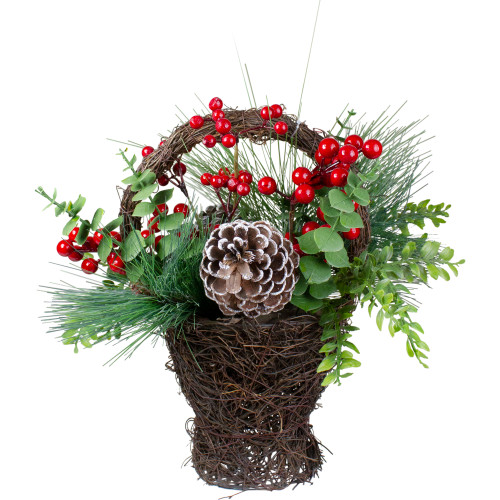 "15"" Eucalyptus Pine and Berry Artificial Christmas Grapevine Basket - IMAGE 1"