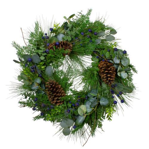 "Blueberry Eucalyptus Pine Artificial Christmas Wreath, 28"" Unlit - IMAGE 1"