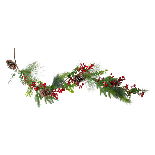 5' Berry Pine and Eucalyptus Artificial Christmas Garland - Unlit - IMAGE 1