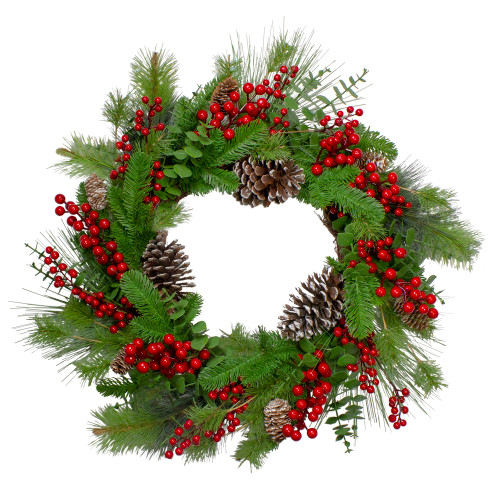 Holly Berries and Snowy Pinecones Artificial Christmas Wreath - 24-Inch, Unlit - IMAGE 1