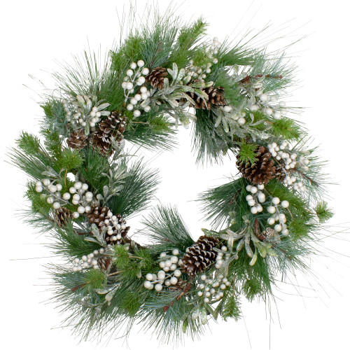 Glittered White Berry and Pinecone Artificial Christmas Wreath, 30-Inch, Unlit - IMAGE 1