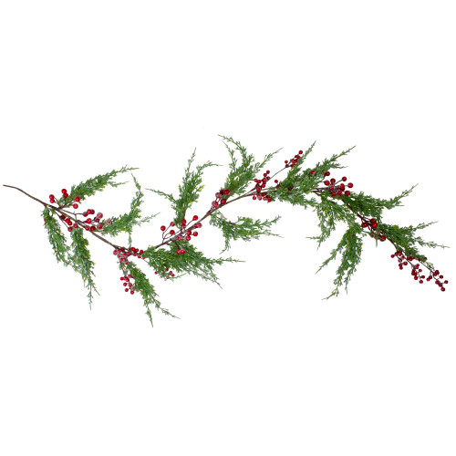 """5' x 8"""" Frosted Red Berry Artificial Christmas Garland- Unlit - IMAGE 1"""