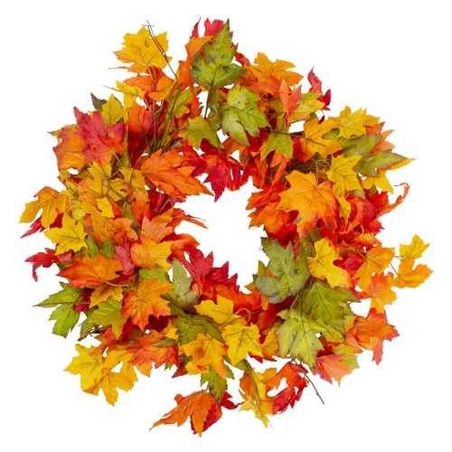 Yellow and Orange Foliage Fall Harvest Artificial Wreath - 22-Inch, Unlit - IMAGE 1