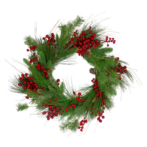 24-Inch Mixed Pine and Red Berry Artificial Christmas Wreath - Unlit - IMAGE 1
