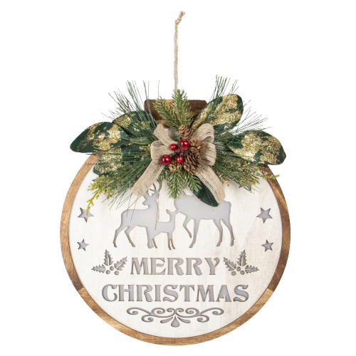 """12"""" Lighted Wooden """"Merry Christmas"""" Round Christmas Wall Decoration - IMAGE 1"""