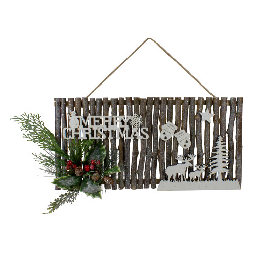 """16"""" Rustic Wooden Merry Christmas Sign Wall Decor - IMAGE 1"""