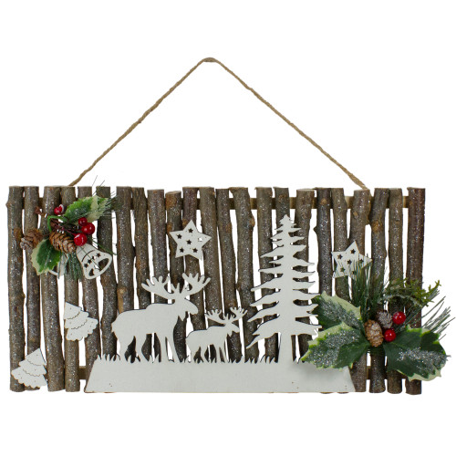 """16"""" Rustic Wooden Branch Christmas Wall Decor - IMAGE 1"""