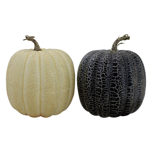 "Set of 2 Black and Beige Fall Harvest Tabletop Pumpkins With a Brown Stem 7"" - IMAGE 1"