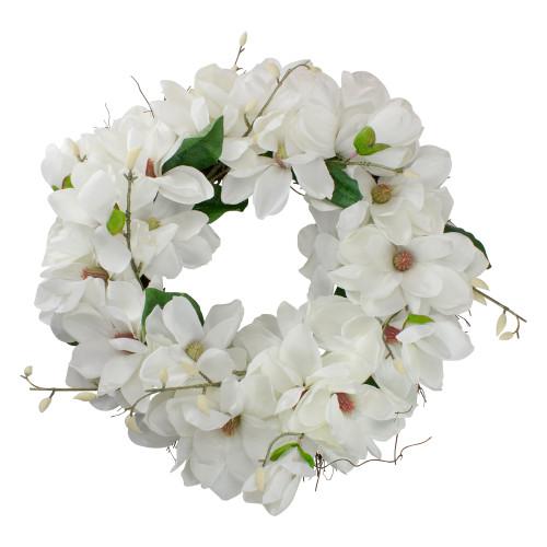 White Magnolias Artificial Spring Wreath - 24-Inch, Unlit - IMAGE 1