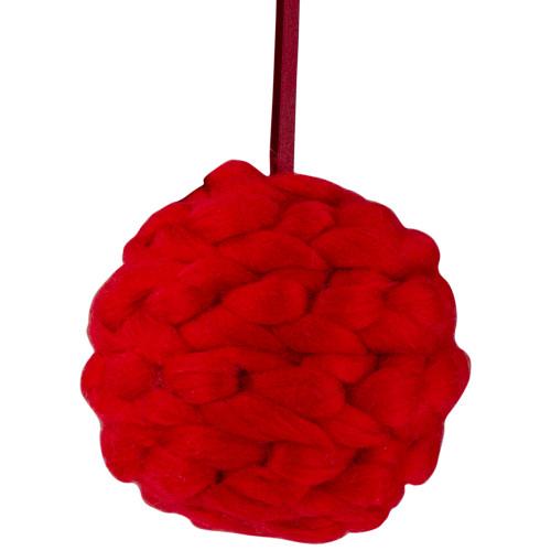 "5.5"" Red Yarn Ball Hanging Christmas Ornament - IMAGE 1"