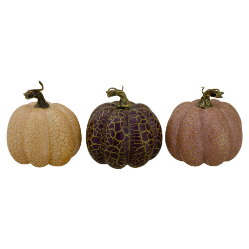 "Set of 3 Brown and Purple Fall Harvest Tabletop Pumpkins 4"" - IMAGE 1"