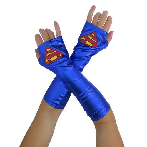 Supergirl Child Gauntlets Girls Halloween Costume Accessories -  6+ - IMAGE 1