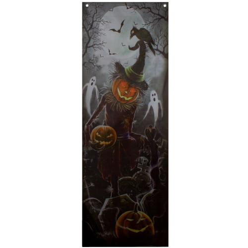 "70.75"" Scary Jack-o'-lantern in Graveyard Halloween Door Decoration - IMAGE 1"